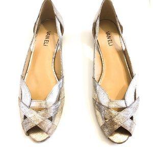 Vaneli Andi Flat Shoes In Pewter Metallic Color